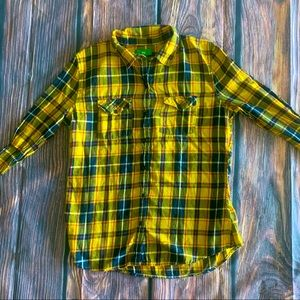DIP long sleeve yellow and blue flannel shirt